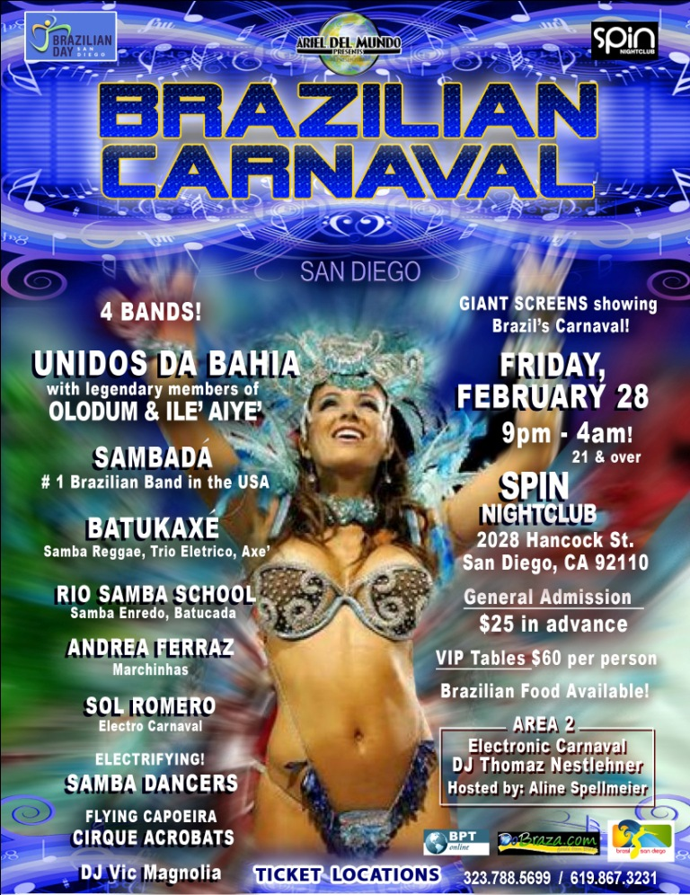 San Diego Brazil Carnival February 28 & Mardi Gras Ball March 1, 2014