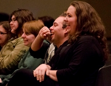 Students laugh at Kober's comedy during her show on Thursday in the Union.